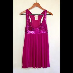 SALE LaRok Fuchsia Pink Sequin Babydoll Mini Dress